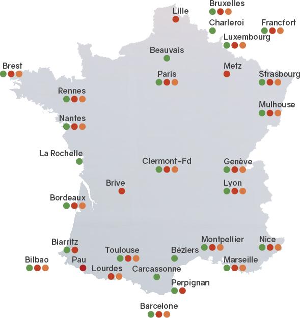 Carte des départs pour la Pologne depuis la france